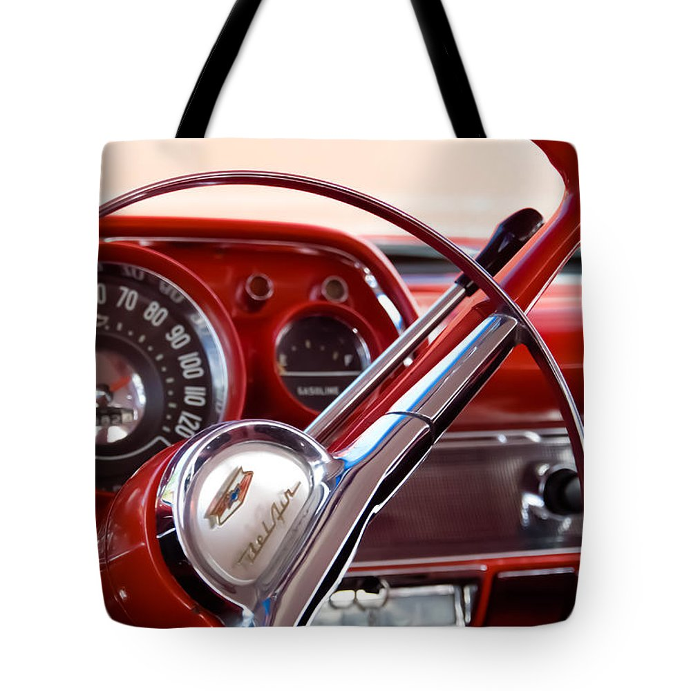 Classic Chevrolets Tote Bag featuring the photograph Red Belair With Dice by Robert VanDerWal