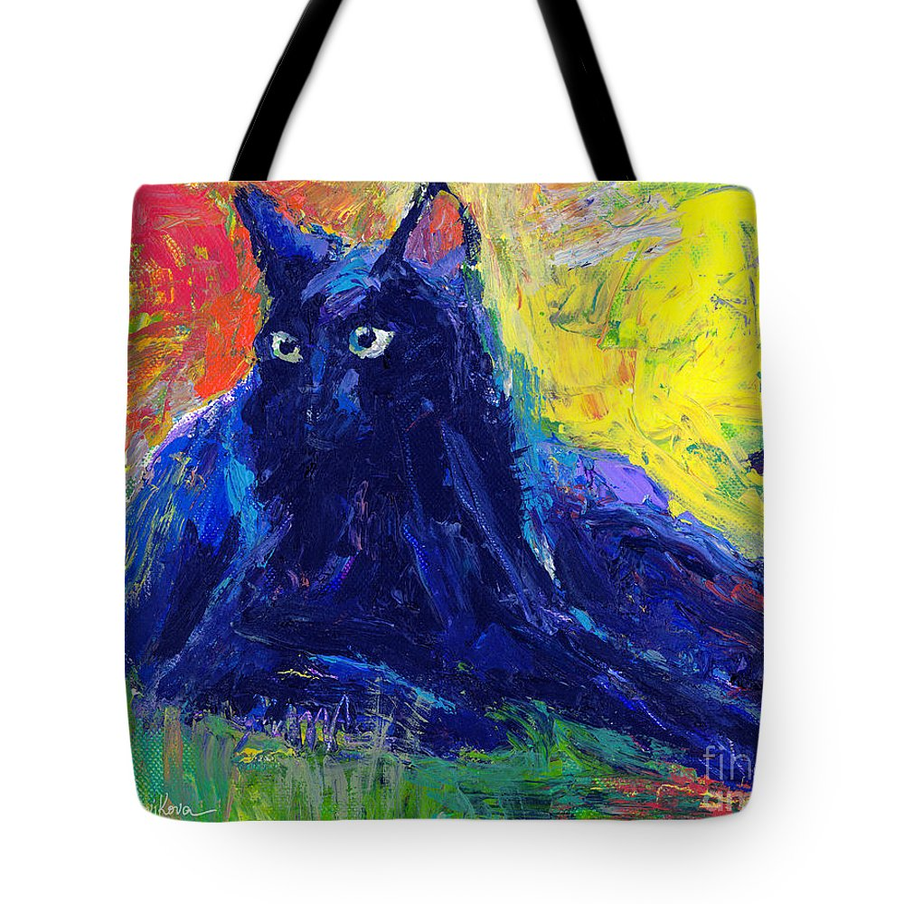 Black Cat Painting Tote Bag featuring the painting Impasto Black Cat Painting by Svetlana Novikova