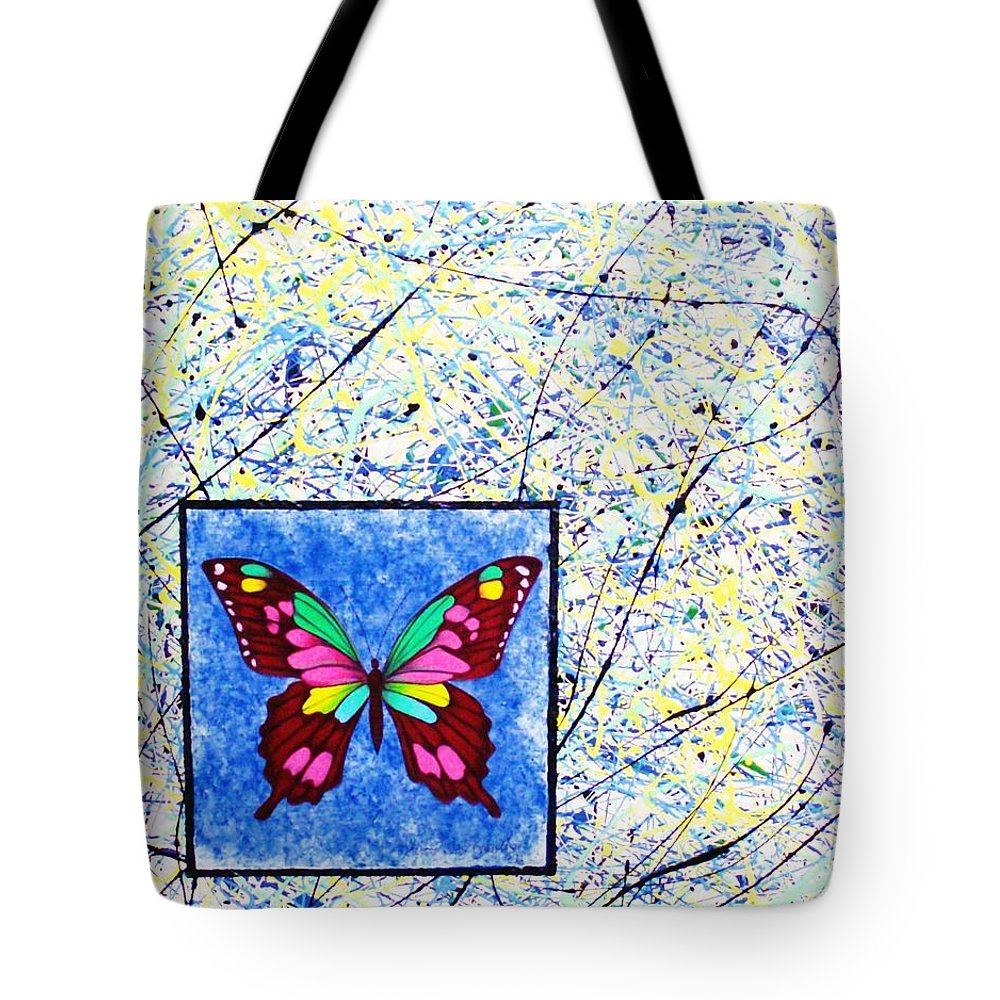 Abstract Tote Bag featuring the painting Imperfect I by Micah Guenther