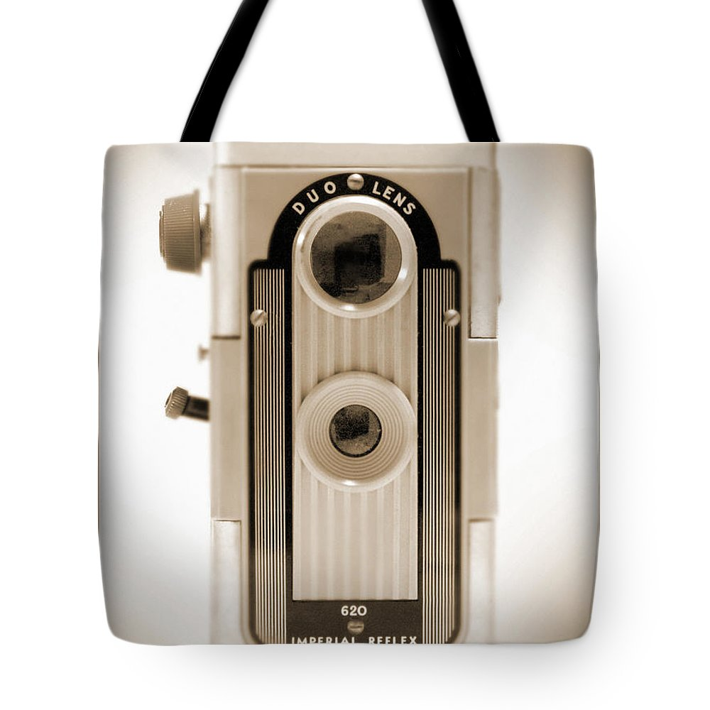 620 Film Camera Tote Bag featuring the photograph Imperial Reflex Camera by Mike McGlothlen
