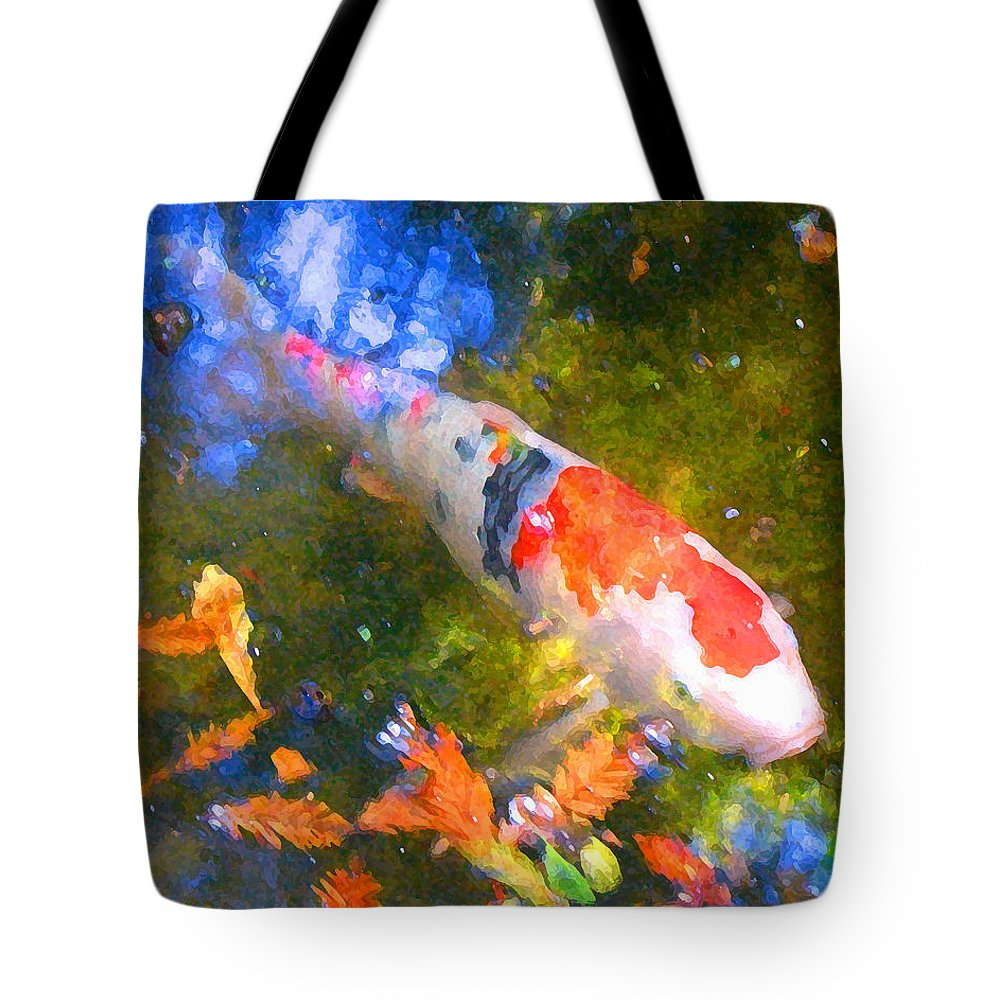 Fish Tote Bag featuring the painting Impressionism Koi 2 by Amy Vangsgard