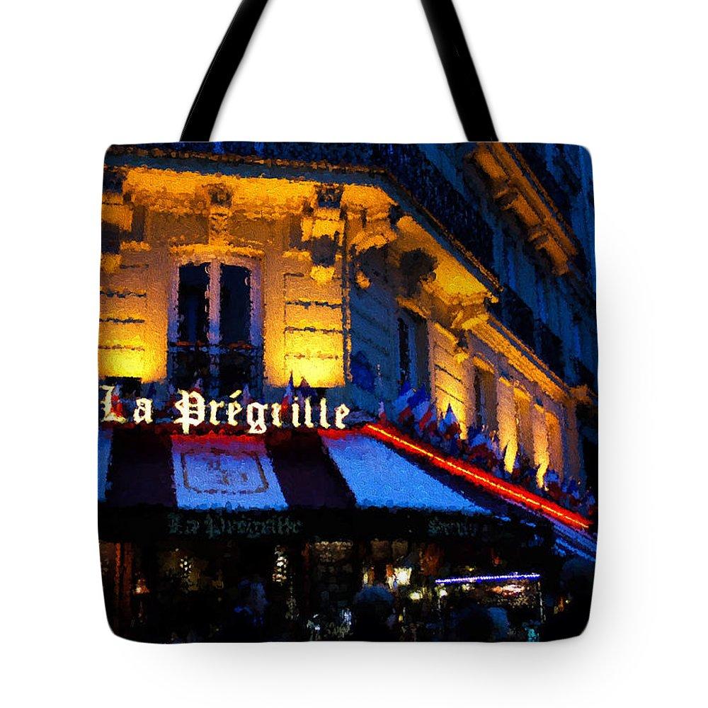 Latin Quarter Tote Bag featuring the digital art Impressions Of Paris - Latin Quarter Night Life by Georgia Mizuleva