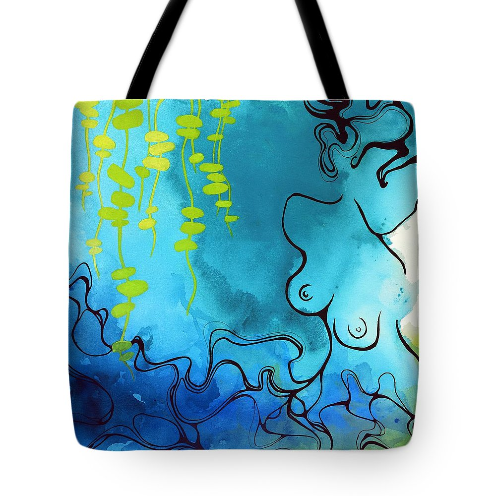 Abstract Tote Bag featuring the painting Imprint by Darcy Lee Saxton