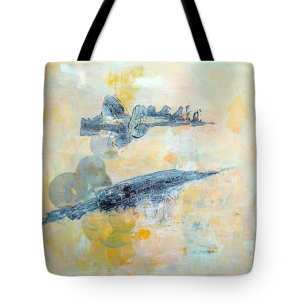 Space Tote Bag featuring the painting In Another Galaxy Far Far Away by Linda Wimberly