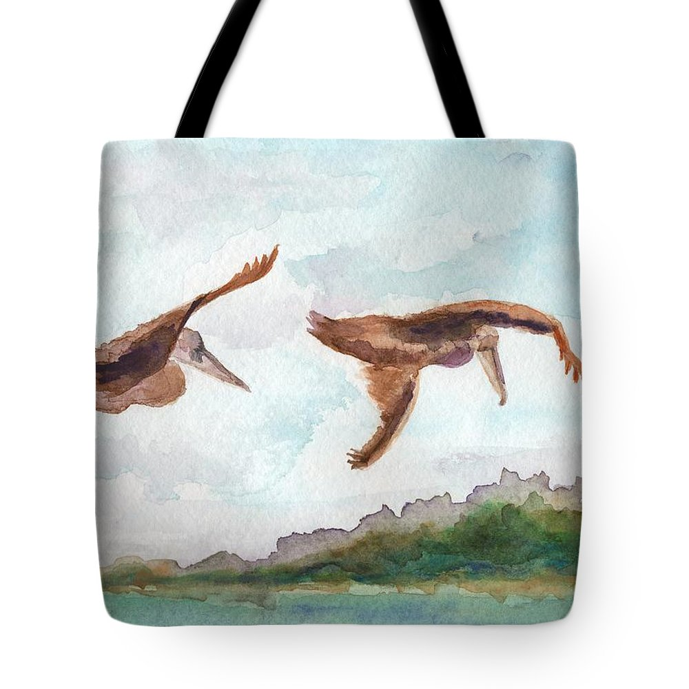 Pelicans Tote Bag featuring the painting In Flight by Bev Veals