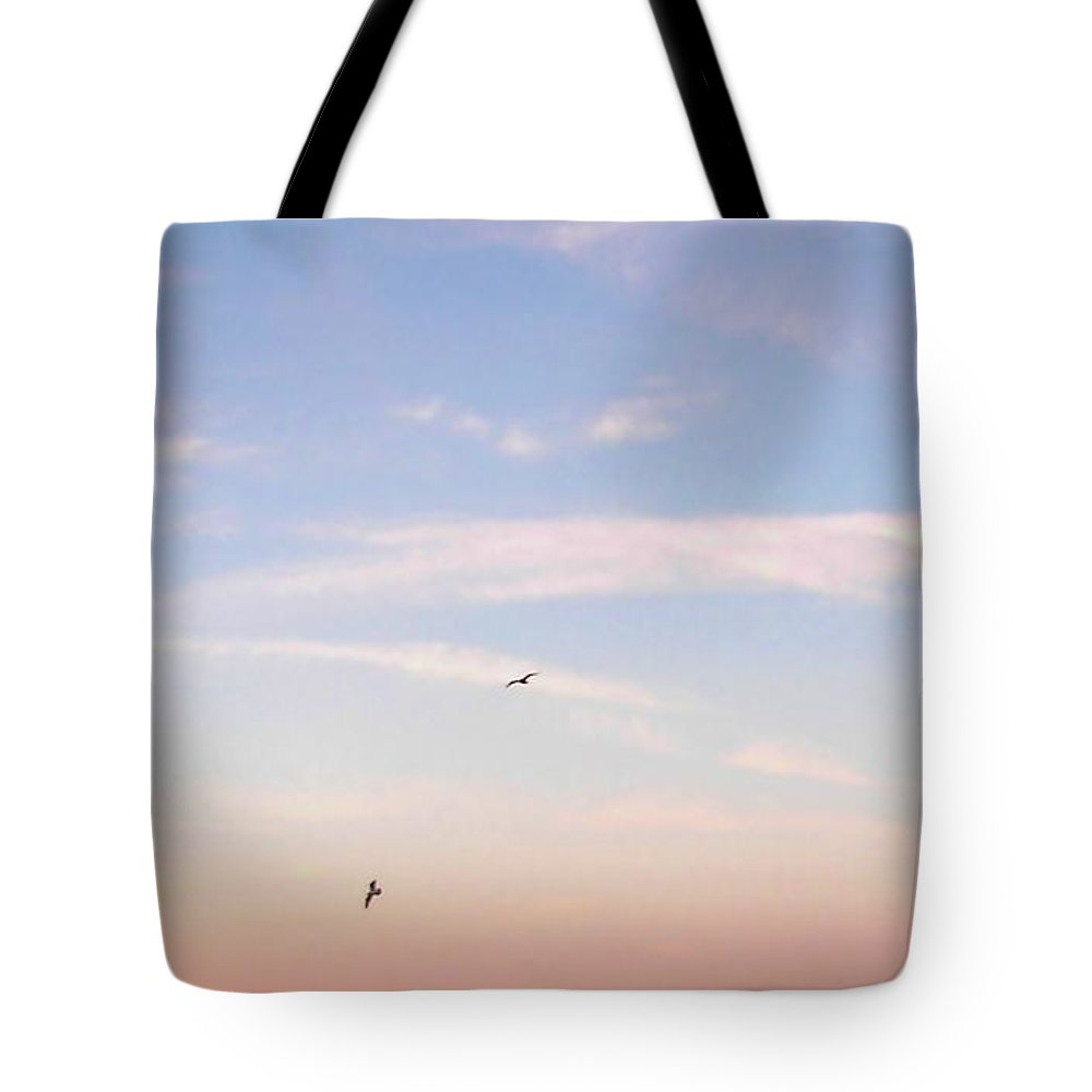Seagulls Tote Bag featuring the photograph In Flight Over Rehoboth Bay by Pamela Hyde Wilson