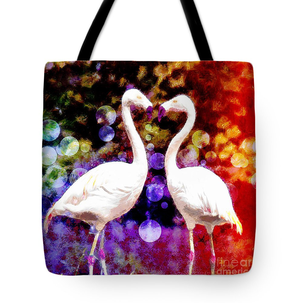 Kissing Flamingos Tote Bag featuring the digital art In Love by Nishanth Gopinathan