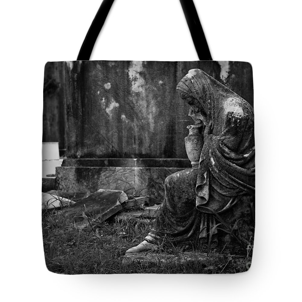 Statue Tote Bag featuring the photograph In Mourning by Mary Smyth