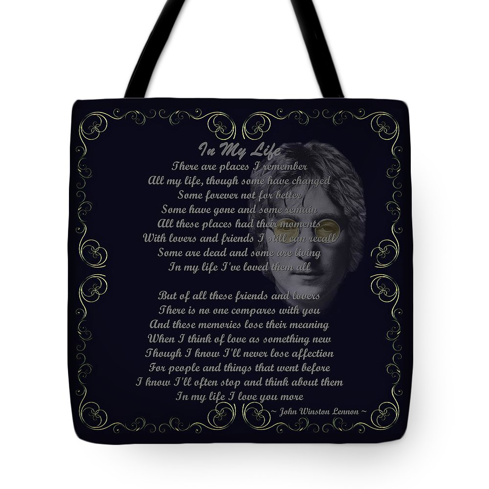 Lennon Tote Bag featuring the digital art In My Life Golden Scroll by Movie Poster Prints