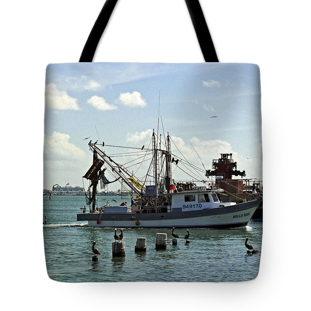 Shrimp Boat Tote Bag featuring the photograph In Port by Robert Brown