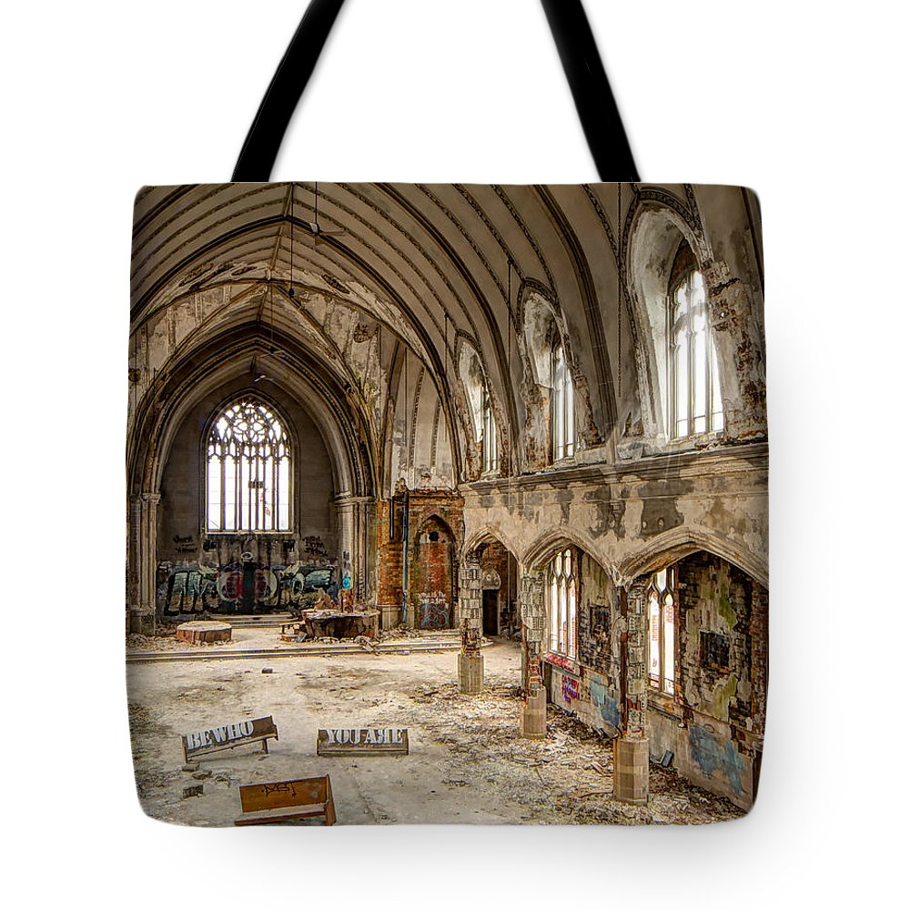 Urban Tote Bag featuring the photograph Faith In Ruins by Pat Eisenberger