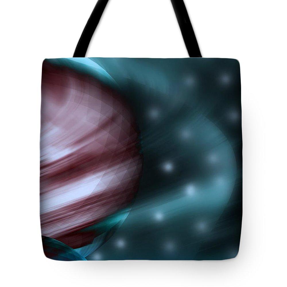 Space Art Tote Bag featuring the digital art In Space by Linda Sannuti