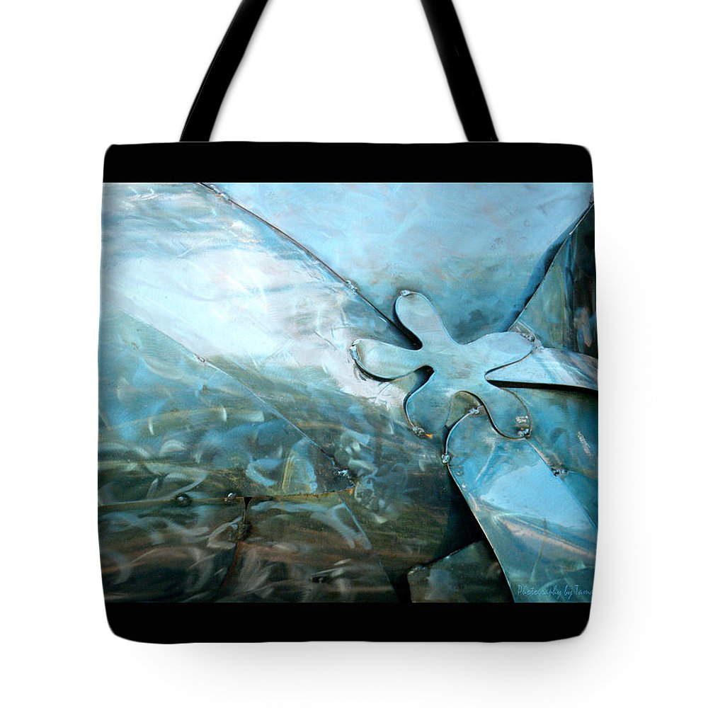 Metal Tote Bag featuring the photograph In The Blue Ocean by Tamara Kulish