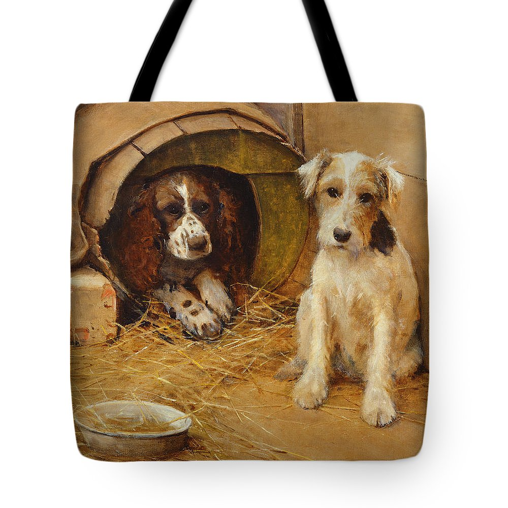 Dog Tote Bag featuring the painting In The Dog House by Samuel Fulton