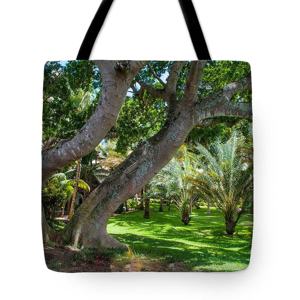 Mauritius Tote Bag featuring the photograph In The Garden. Mauritius by Jenny Rainbow