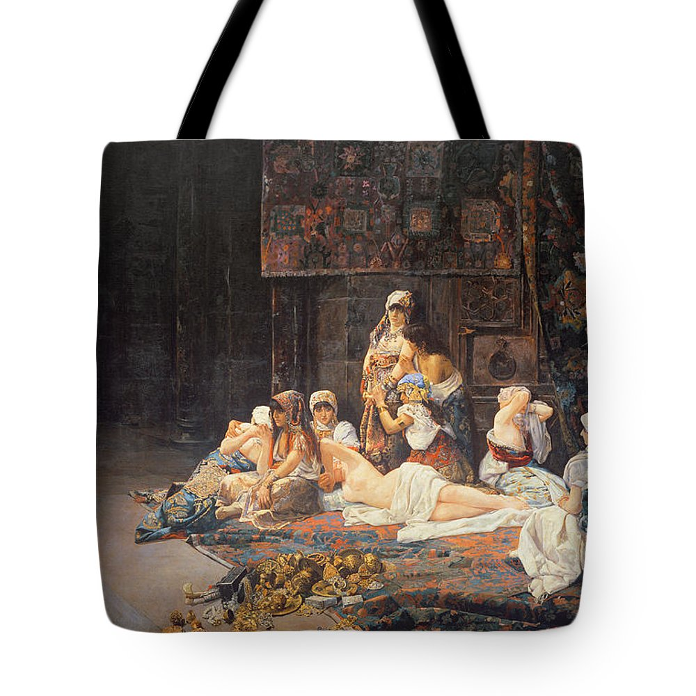 Au Serail Tote Bag featuring the painting In The Harem by Jose Gallegos Arnosa