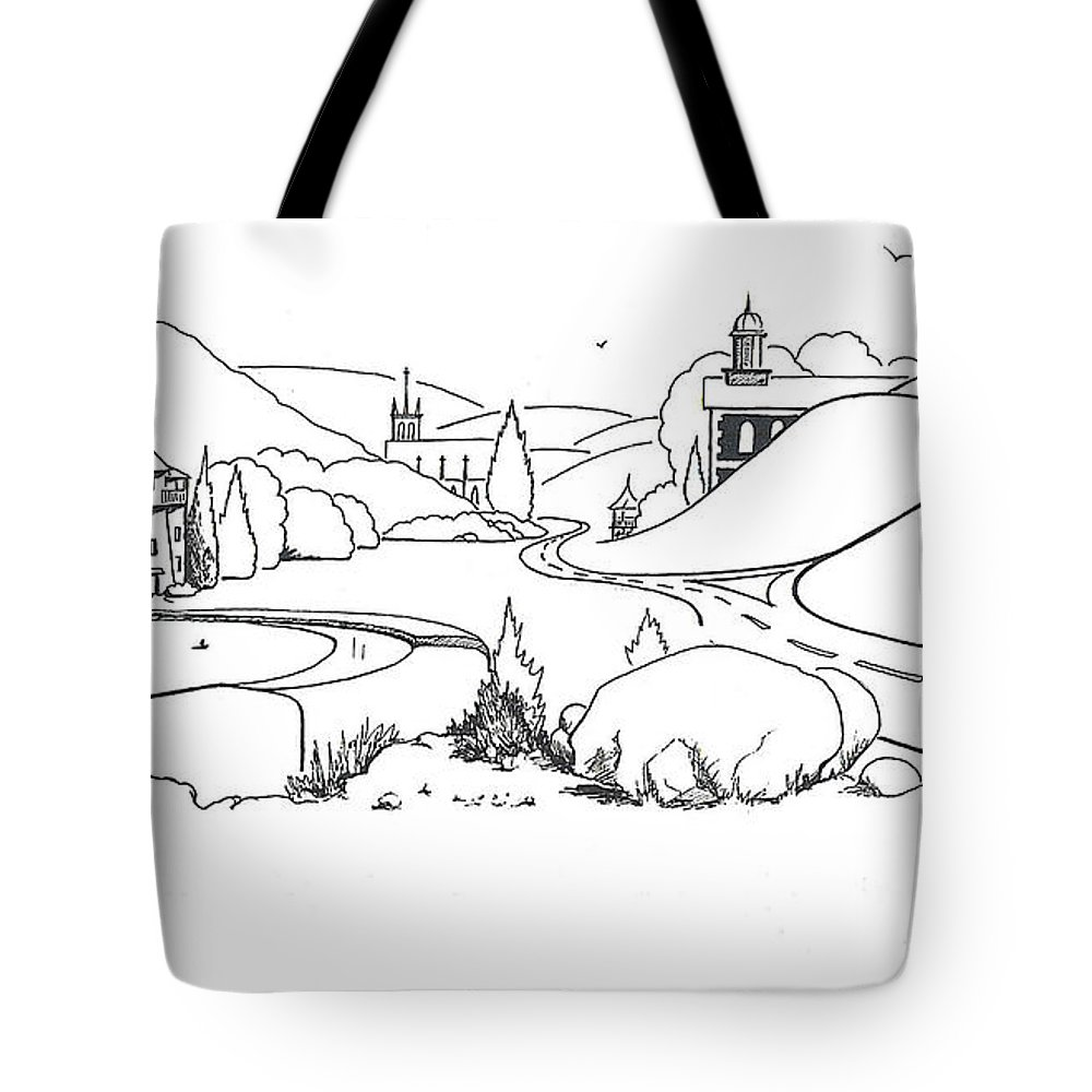 In The Land Of Brigadoon Tote Bag featuring the drawing In The Land Of Brigadoon by Kip DeVore