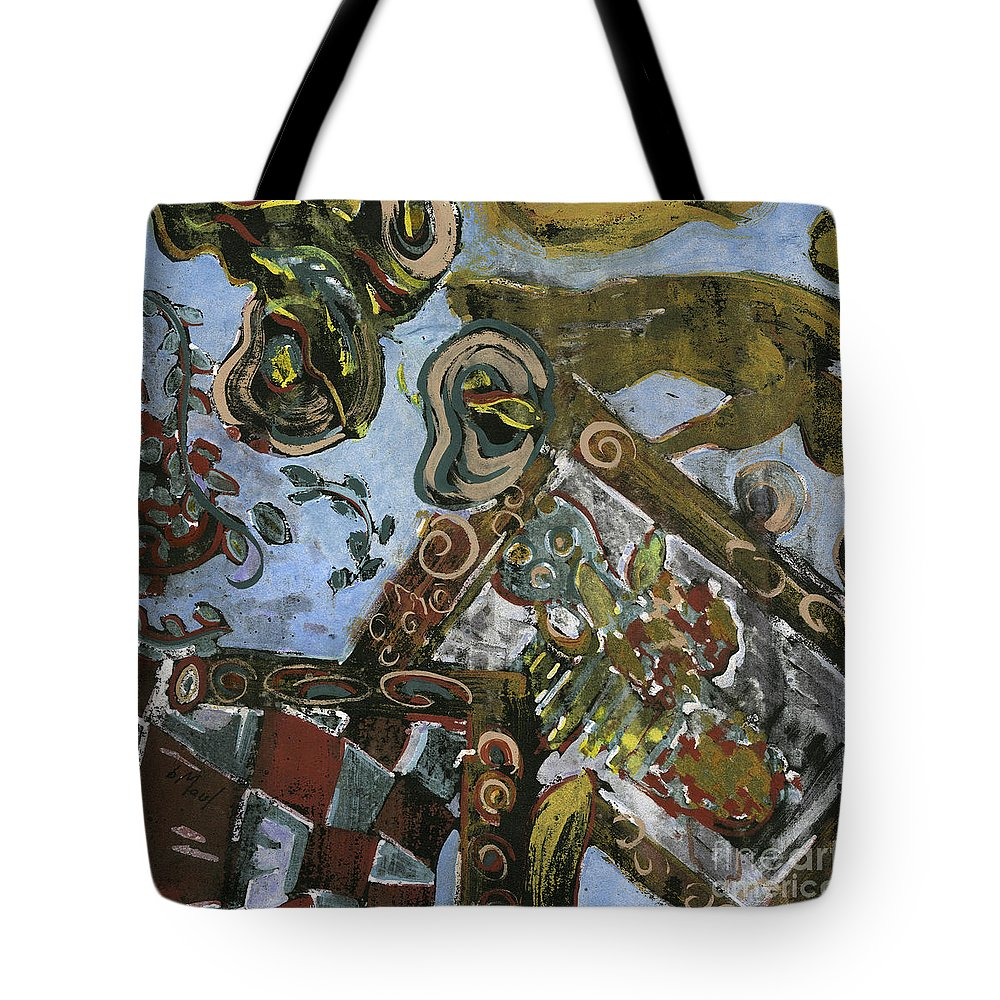 Abstract Tote Bag featuring the painting In The Mirror by Barb Maul