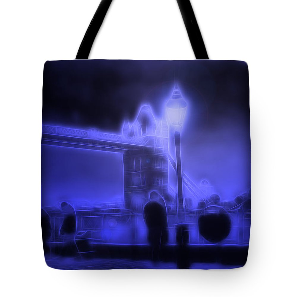 London Tower Bridge People Night Blue Hour Light Lights Expressionism Impressionism Abstract Man Men City Moon Moonlight Digital Art Cityscape Sight Tote Bag featuring the digital art In The Moonlight by Steve K