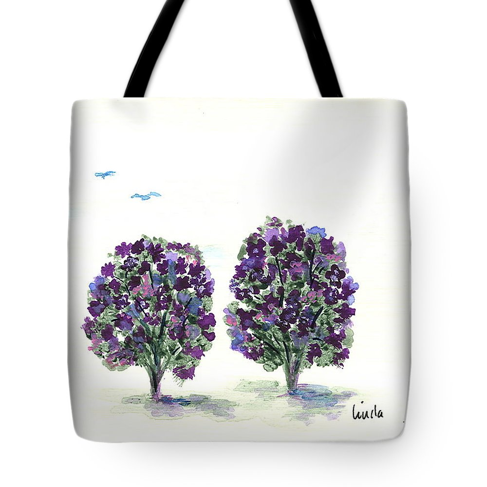 Expressionistic Tote Bag featuring the painting In The Park by Linda Wimberly