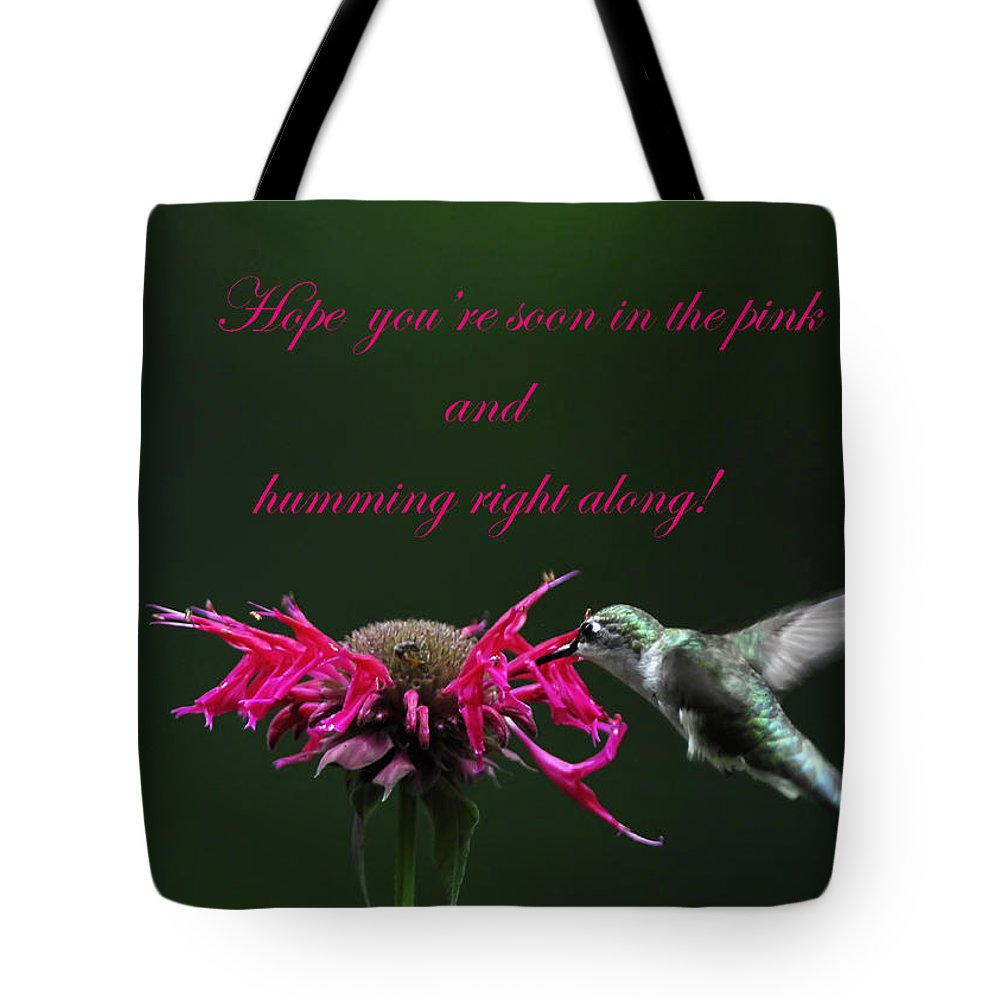 Bee Balm Tote Bag featuring the photograph In The Pink And Hummin Along by Randall Branham