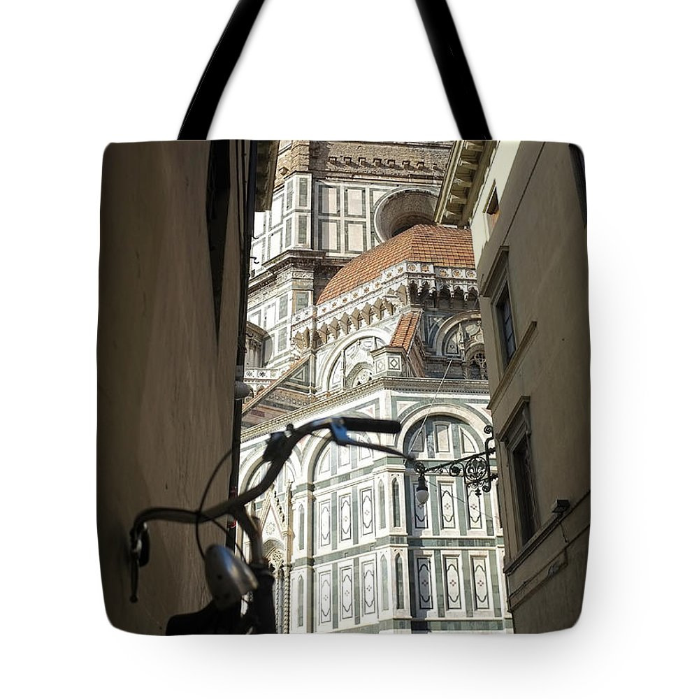 Florence Tote Bag featuring the photograph In The Shadow Of Il Duomo by Christopher Rees