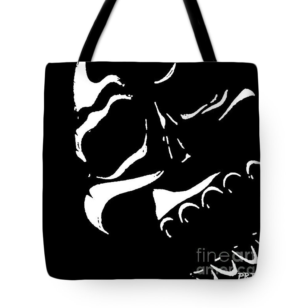 Ink Drawings Tote Bag featuring the mixed media In The Shadows by Phillip Rangel