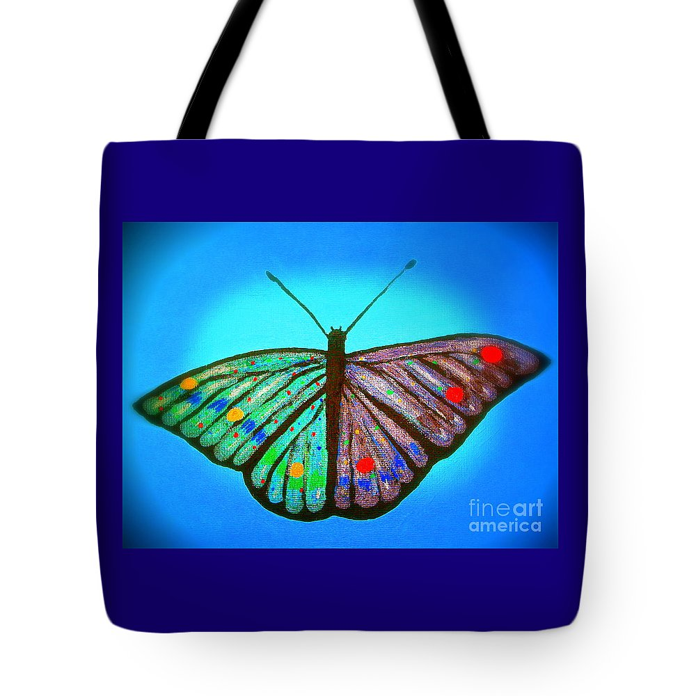 Butterfly Psychedelic Tote Bag featuring the painting Cosmic Butterfly by Craig Imig