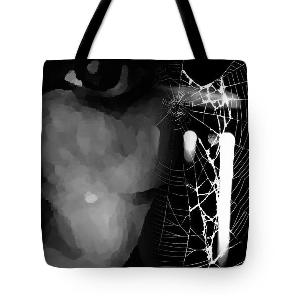 Black Tote Bag featuring the photograph In The Web by Jessica Shelton