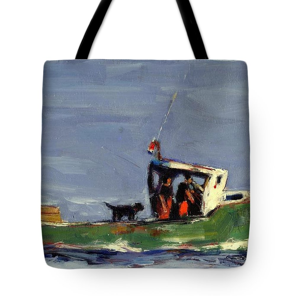 Lobster Boat Tote Bag featuring the painting In Tow by Molly Poole