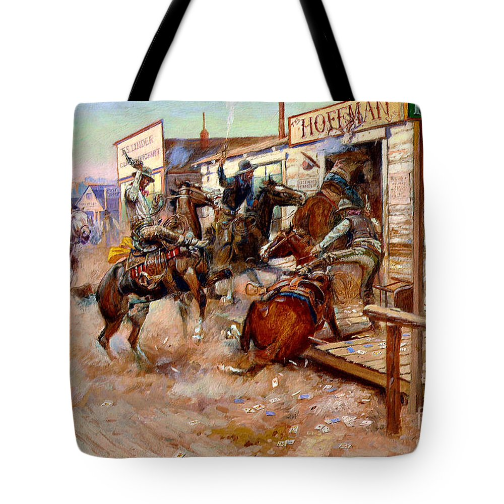 U.s.pd: Reproduction Tote Bag featuring the painting In Without Knocking By Charles M. Russell by Pg Reproductions