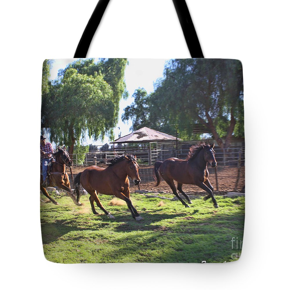 Cowboy Tote Bag featuring the photograph Inbound by Tommy Anderson