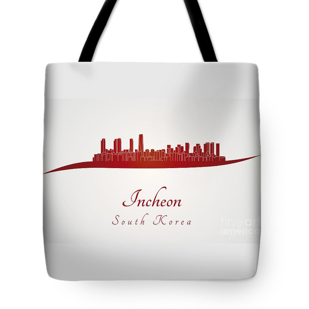 Incheon Skyline Tote Bag featuring the digital art Incheon Skyline In Red by Pablo Romero