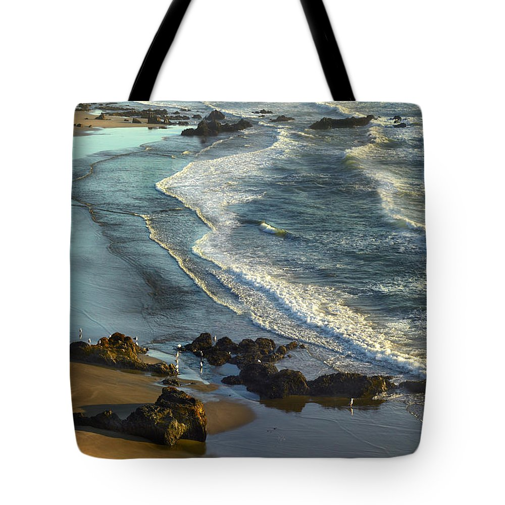 Beach Tote Bag featuring the photograph Incoming Waves At Bandon Beach Oregon by Tim Fitzharris