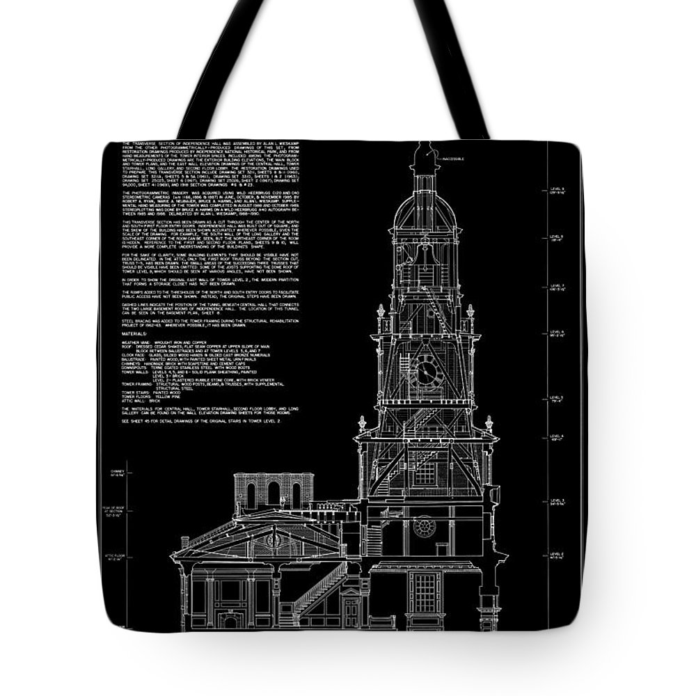 independence Hall Tote Bag featuring the photograph Independence Hall Transverse Section - Philadelphia by Daniel Hagerman