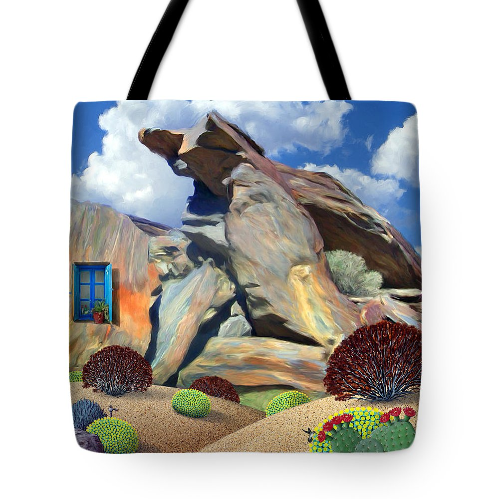 Nature Tote Bag featuring the painting Indian Canyon Rocks by Snake Jagger