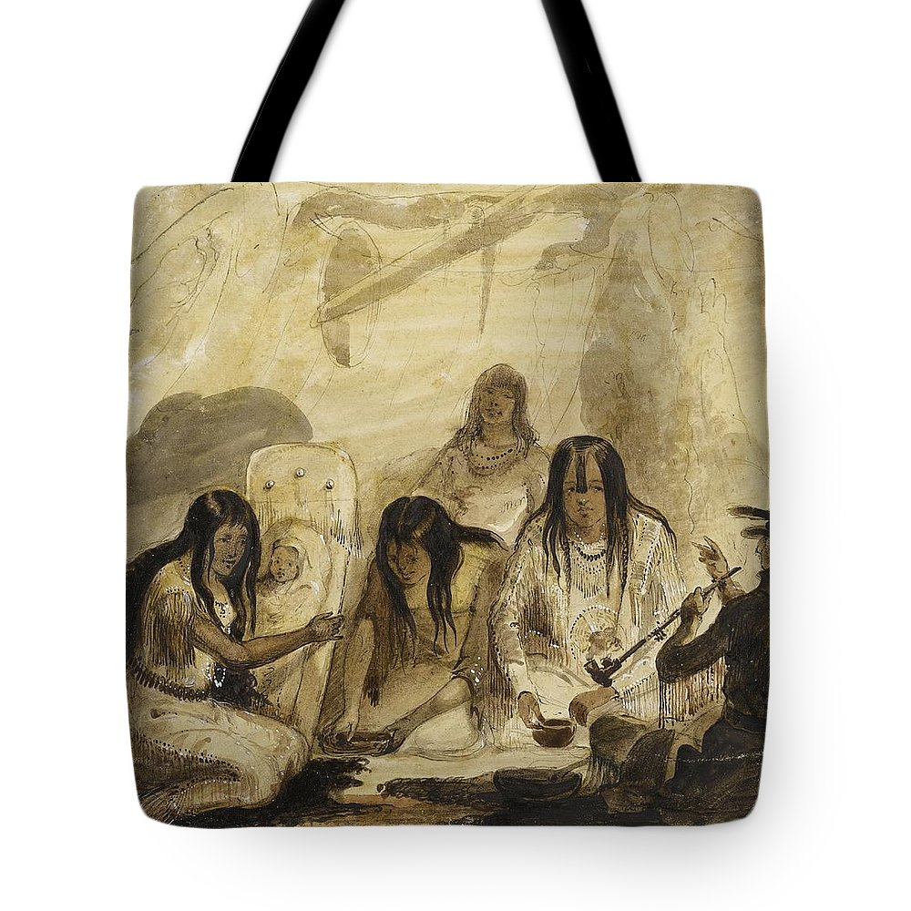 Alfred Jacob Miller Tote Bag featuring the painting Indian Hospitality - Conversing With Signs by Celestial Images