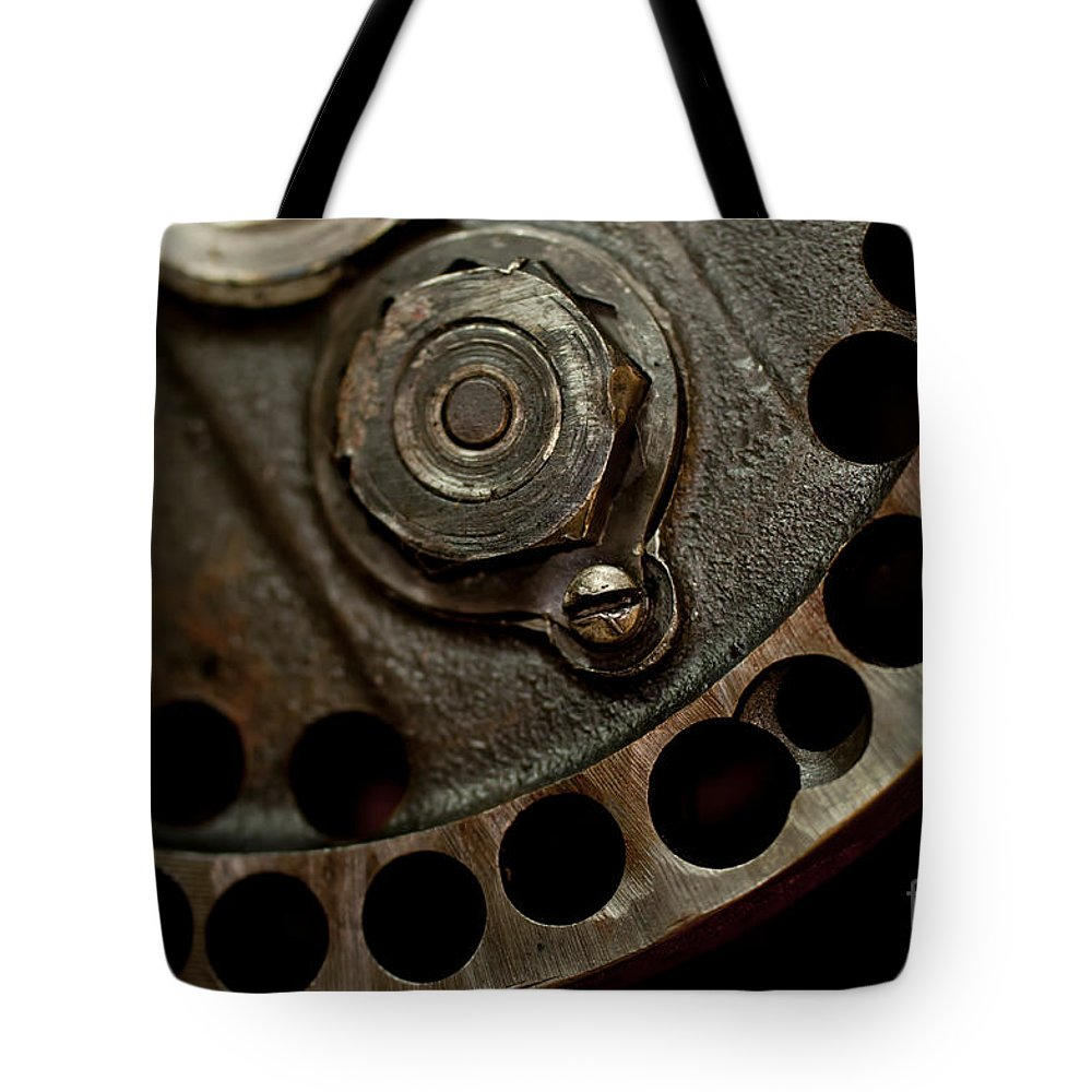 1940s Indian Scout Racer Tote Bag featuring the photograph Indian Racer Crankshaft Fly Wheel by Wilma Birdwell