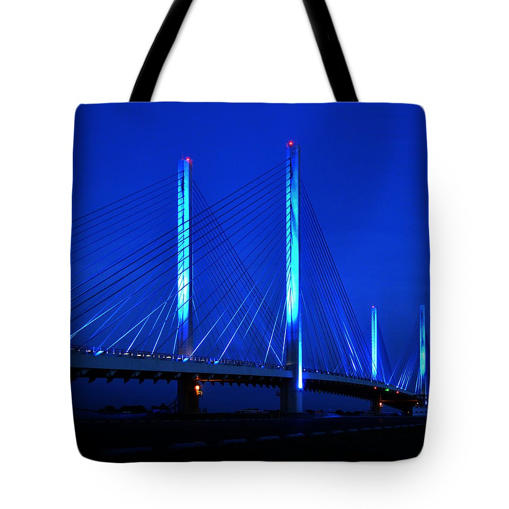 Indian River Bridge Tote Bag featuring the photograph Indian River Bridge At Night by Bill Swartwout Photography