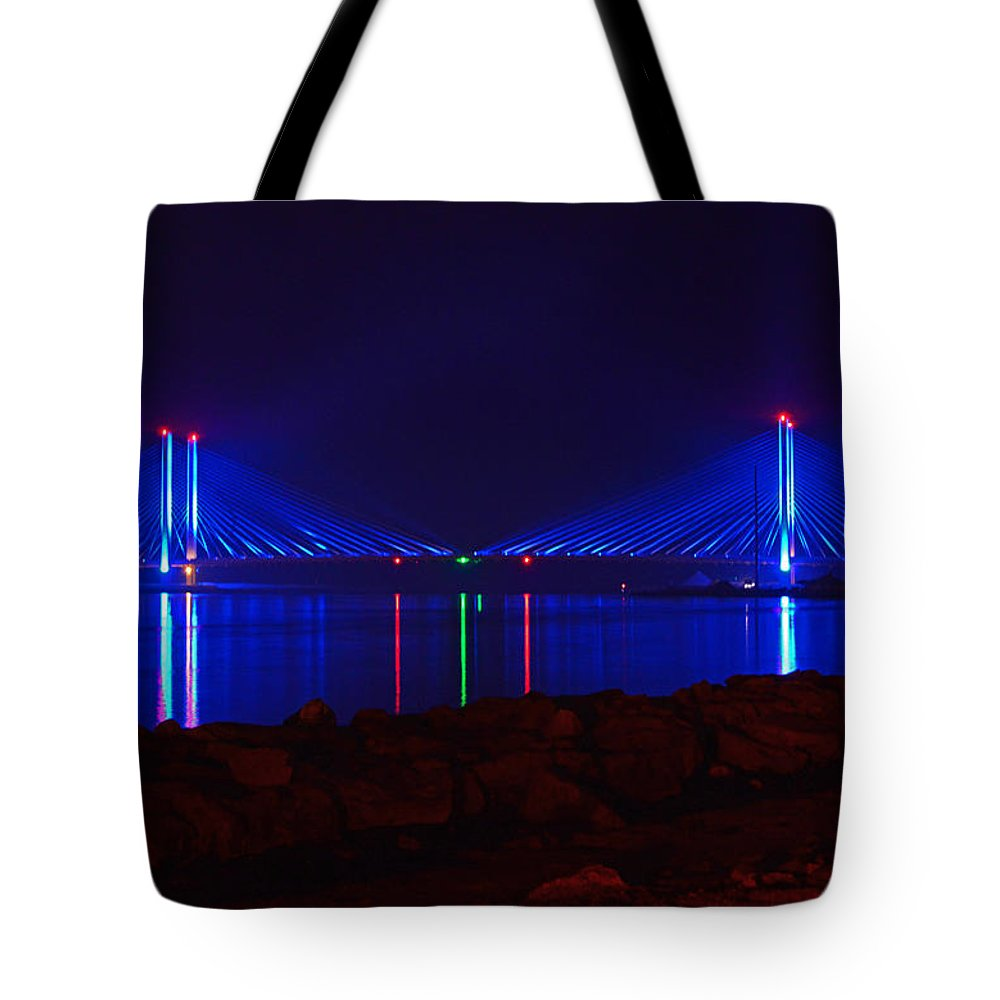 Indian River Bridge Tote Bag featuring the photograph Indian River Inlet Bridge After Dark by Bill Swartwout Photography