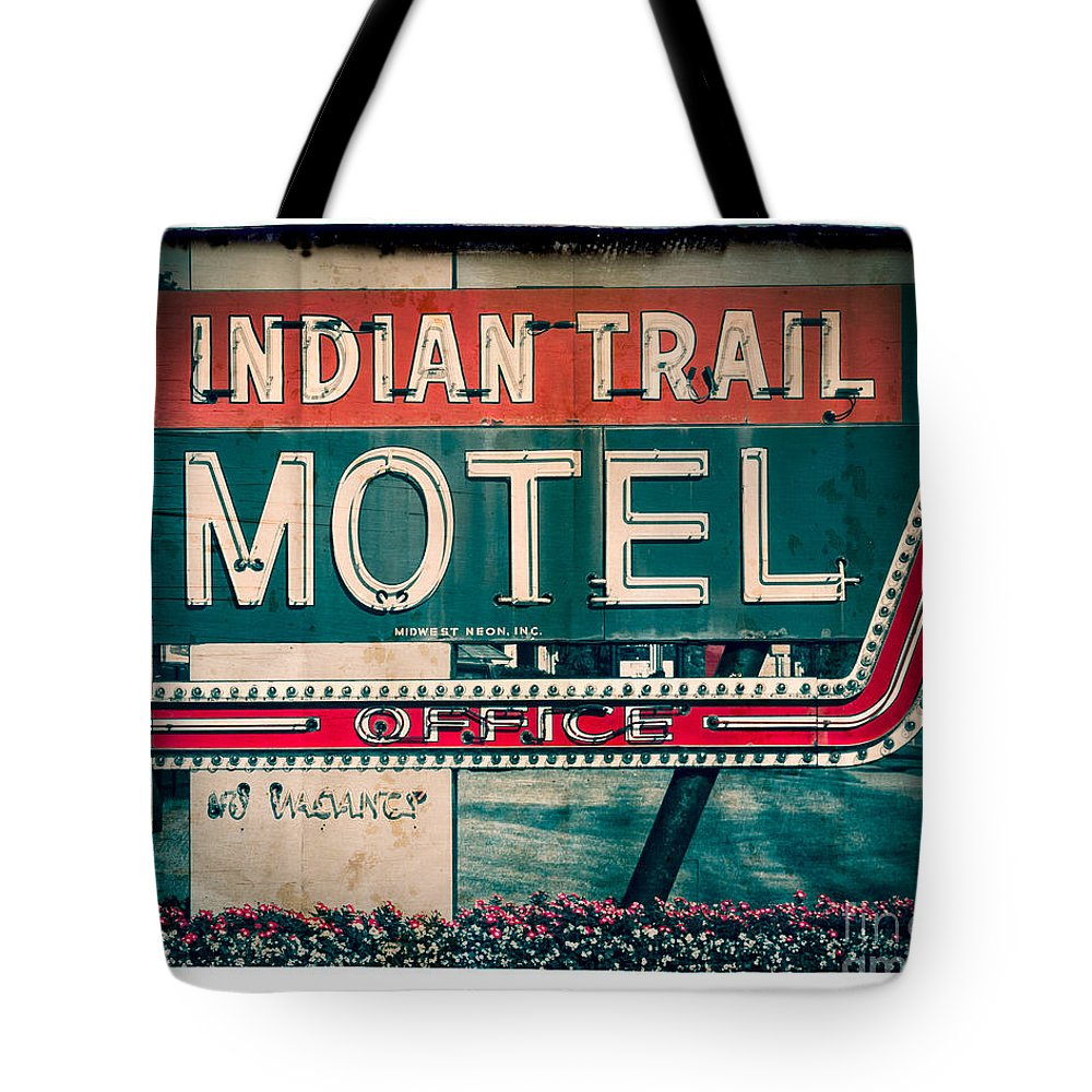 Sign Tote Bag featuring the photograph Indian Trail Motel by Perry Webster