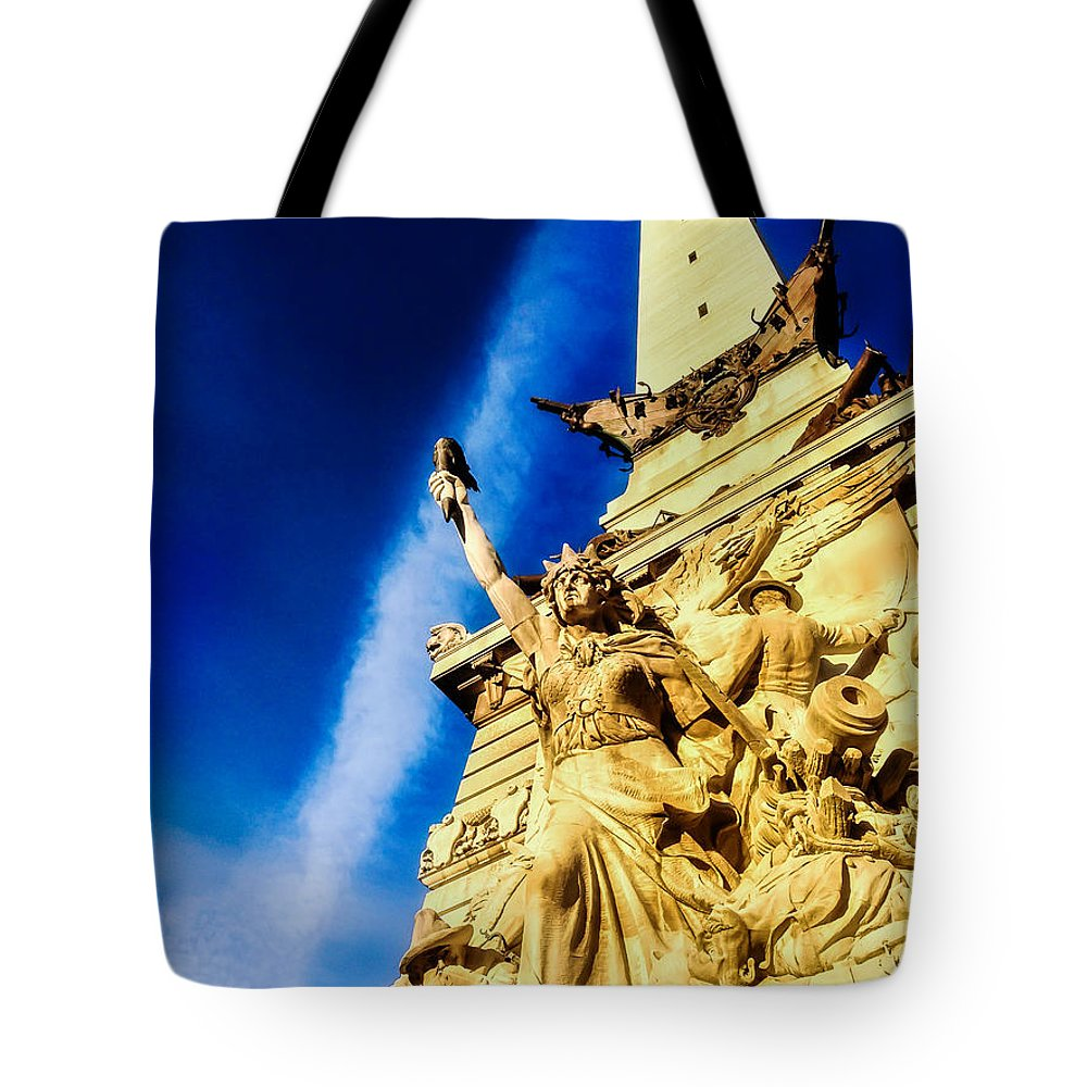 Indianapolis Tote Bag featuring the photograph Indiana Civil War Monument by Jon Woodhams