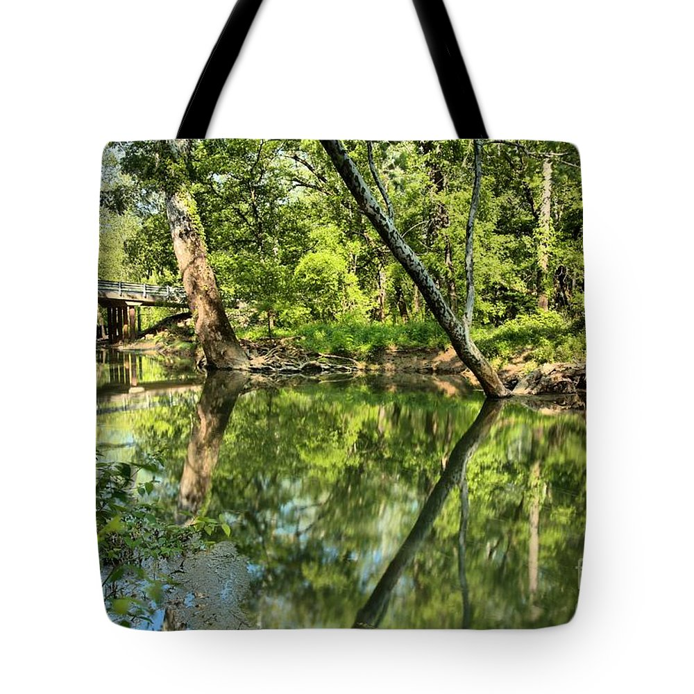 Spring Mill State Park Tote Bag featuring the photograph Indiana Reflections by Adam Jewell