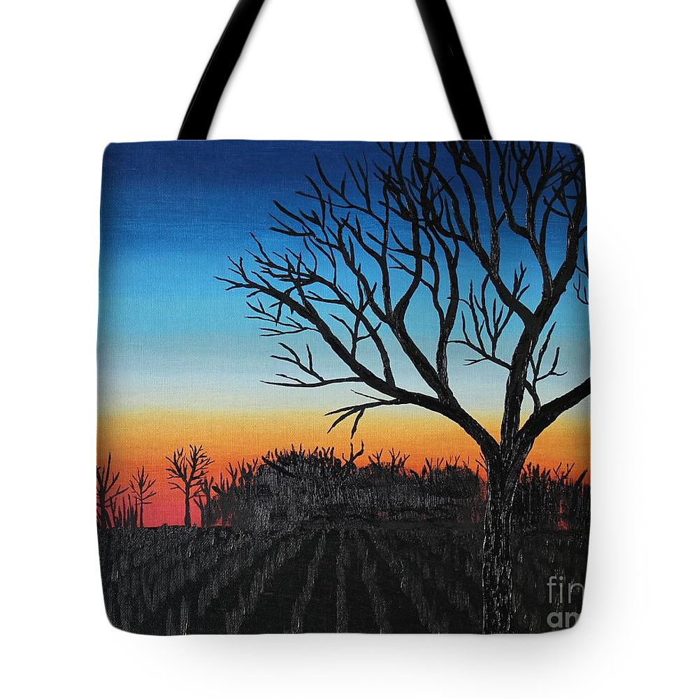 Tree Tote Bag featuring the painting Indiana Sunset by Lee Alexander