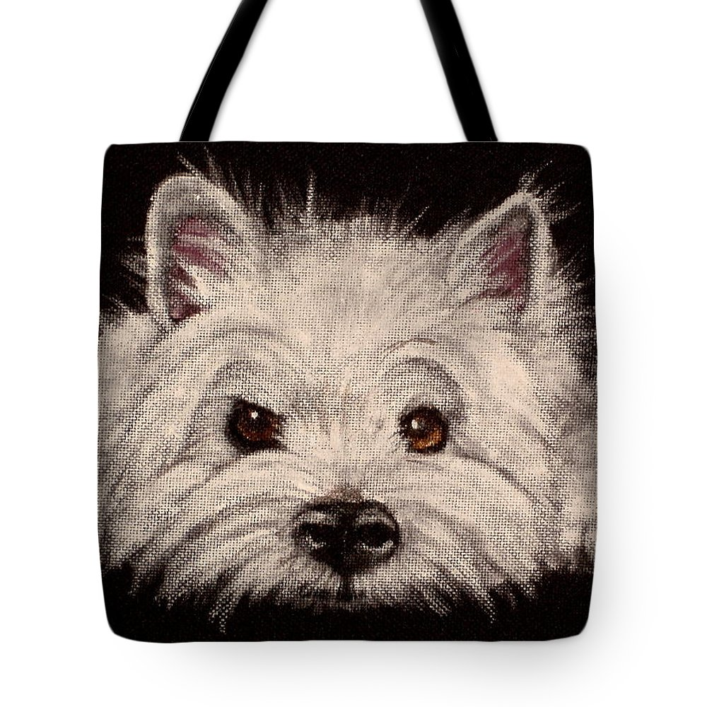 Close Up Of West Highland Terrier Tote Bag featuring the painting Indie by Carol Russell
