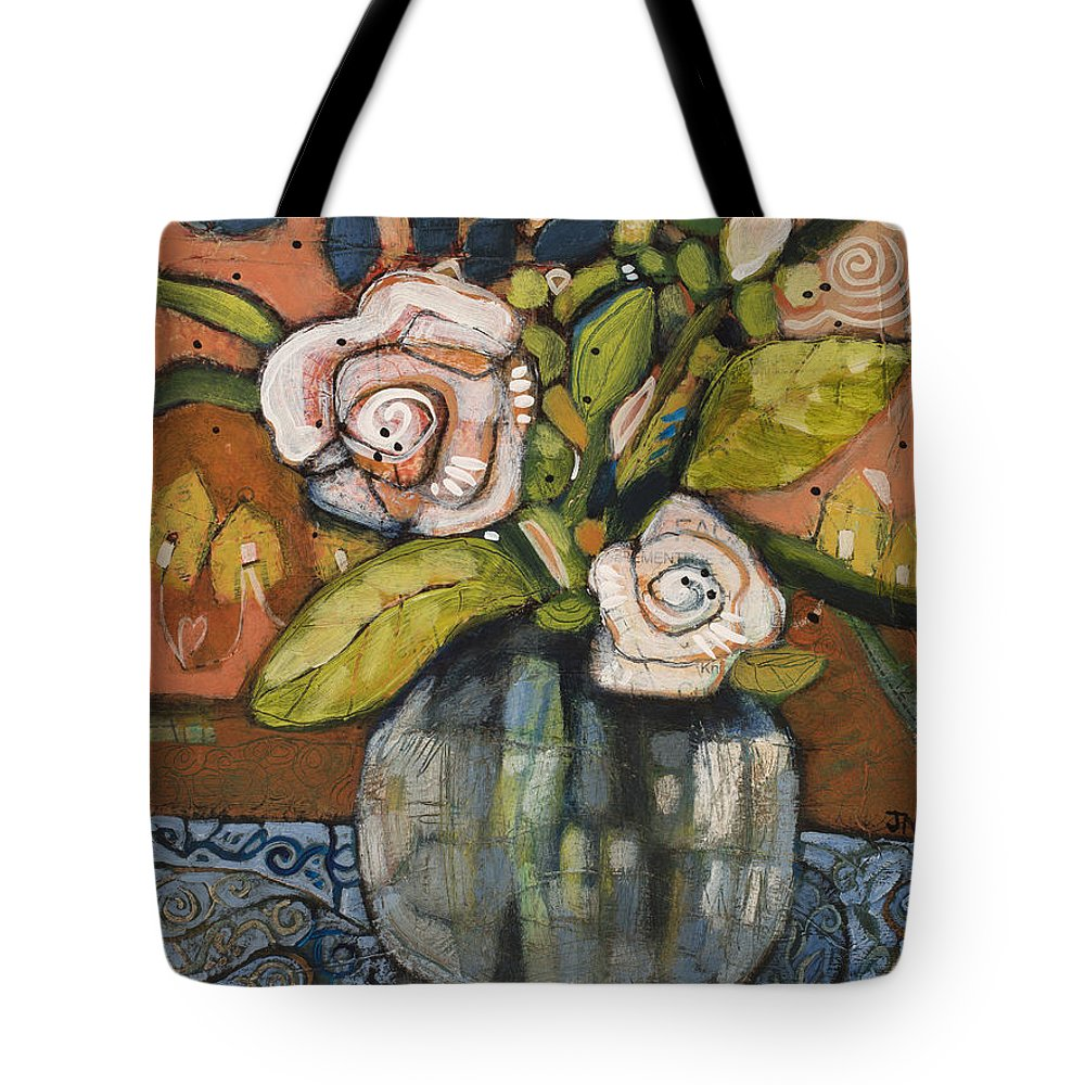 Jen Norton Tote Bag featuring the painting Indigo And Orange Floral by Jen Norton