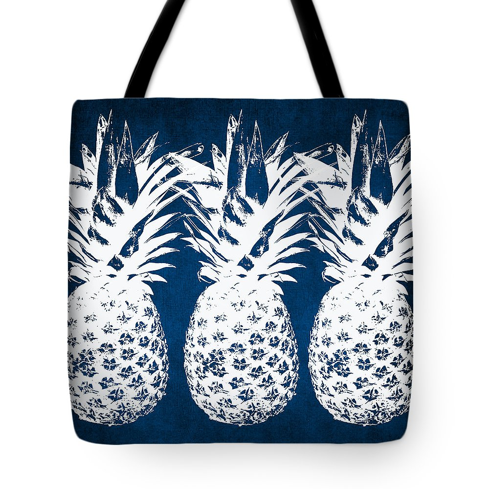 Indigo Tote Bag featuring the painting Indigo and White Pineapples by Linda Woods