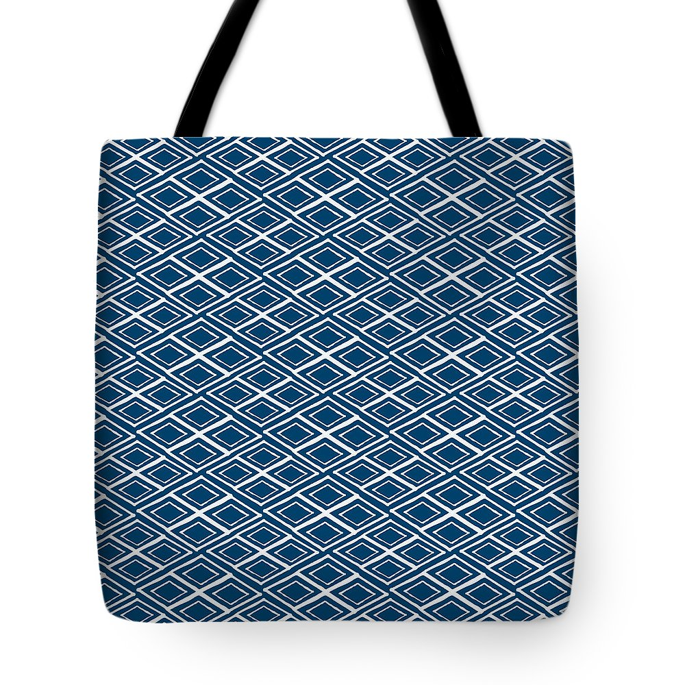 Indigo And White Tote Bag featuring the painting Indigo and White Small Diamonds- Pattern by Linda Woods