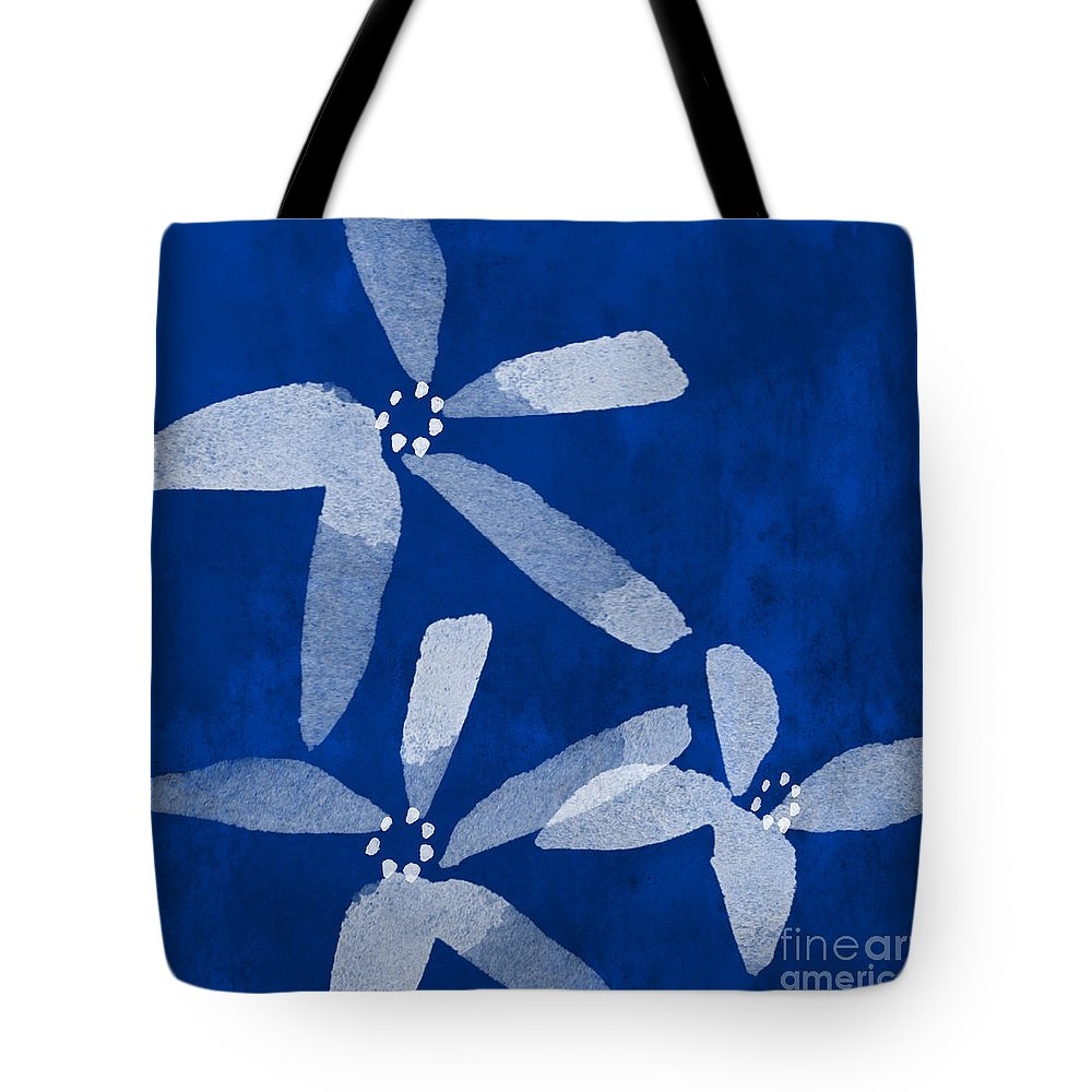 Abstract Tote Bag featuring the painting Indigo Flowers by Linda Woods