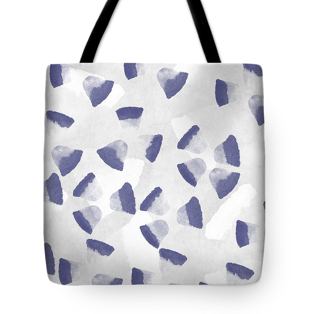 Abstract Tote Bag featuring the digital art Indigo Petals by Aged Pixel
